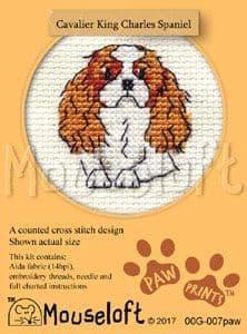 Mouseloft Cavalier King Charles Spaniel Paw Prints cross stitch kit